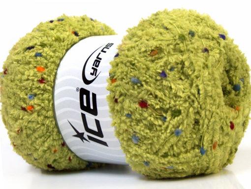 Lot of 4 x 100gr Skeins Ice Yarns PUFFY POMPOM (85% MicroFiber) Yarn Light Green