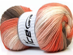 Lot of 4 x 100gr Skeins Ice Yarns MAGIC LIGHT Yarn Brown Camel White Orange