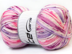 Lot of 4 x 100gr Skeins Ice Yarns CANDY BABY Yarn Pink Lilac White