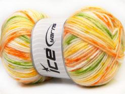 Lot of 4 x 100gr Skeins Ice Yarns CANDY BABY Yarn Orange Green Yellow White