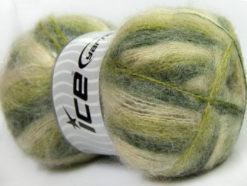Lot of 4 x 100gr Skeins Ice Yarns BERMUDA MOHAIR (70% Mohair) Yarn Green Shades Cream