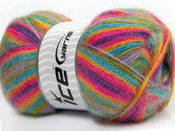 Lot of 4 x 100gr Skeins Ice Yarns ANGORA SUPREME COLOR (70% Angora) Yarn Purple Fuchsia Turquoise Green Lilac
