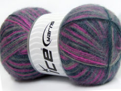 Lot of 4 x 100gr Skeins Ice Yarns ANGORA SUPREME COLOR (70% Angora) Yarn Purple Navy Grey