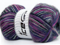 Lot of 4 x 100gr Skeins Ice Yarns ANGORA SUPREME COLOR (70% Angora) Yarn Black Grey Purple Pink