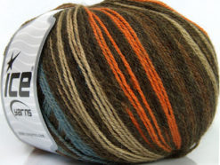 Lot of 4 x 100gr Skeins Ice Yarns ALPACA FINE MAGIC (25% Alpaca 35% Wool) Yarn Brown Orange Camel Blue