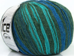 Lot of 4 x 100gr Skeins Ice Yarns ALPACA FINE MAGIC (25% Alpaca 35% Wool) Yarn Green Shades Turquoise Blue