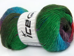 Lot of 4 x 100gr Skeins Ice Yarns PRIMADONNA (50% Wool) Yarn Turquoise Green Brown
