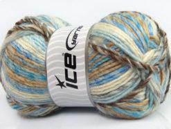 Lot of 4 x 100gr Skeins Ice Yarns MYSTIQUE (25% Wool) Yarn Brown White Blue Beige
