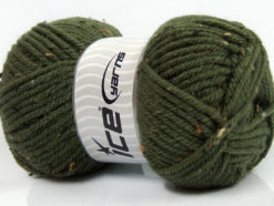 Lot of 4 x 100gr Skeins Ice Yarns WOOL TWEED SUPERBULKY (25% Wool 3% Viscose) Yarn Dark Khaki