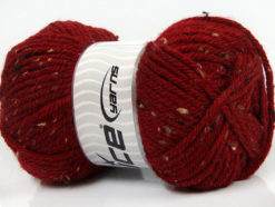Lot of 4 x 100gr Skeins Ice Yarns WOOL TWEED SUPERBULKY (25% Wool 3% Viscose) Yarn Dark Red