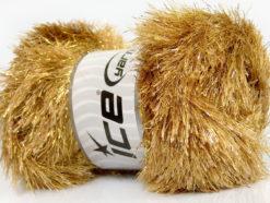 Lot of 4 x 100gr Skeins Ice Yarns EYELASH DAZZLE Hand Knitting Yarn Camel Gold