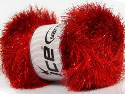 Lot of 4 x 100gr Skeins Ice Yarns EYELASH DAZZLE Hand Knitting Yarn Red