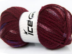 Lot of 4 x 100gr Skeins Ice Yarns TUBEWOOL BULKY SPOTS (11% Wool) Yarn Burgundy Pink Purple