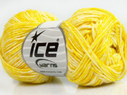 Lot of 8 Skeins Ice Yarns JEANS (100% Cotton) Hand Knitting Yarn Yellow White