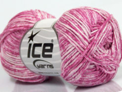 Lot of 8 Skeins Ice Yarns JEANS (100% Cotton) Hand Knitting Yarn Pink White