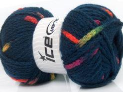 Lot of 4 x 100gr Skeins Ice Yarns TUBEWOOL BULKY SPOTS (11% Wool) Yarn Navy Neon Colors