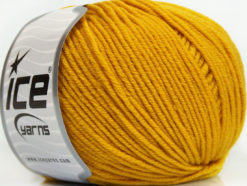 Lot of 4 Skeins Ice Yarns SUPERWASH MERINO EXTRAFINE (100% Superwash Extrafine Merino Wool) Yarn Gold