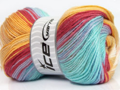 Lot of 4 x 100gr Skeins Ice Yarns MAGIC DK Yarn Turquoise Burgundy Yellow Beige