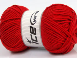 Lot of 4 x 100gr Skeins Ice Yarns LORENA WORSTED (55% Cotton) Yarn Red