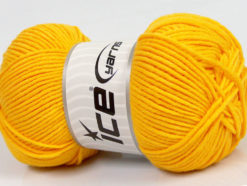 Lot of 4 x 100gr Skeins Ice Yarns LORENA WORSTED (55% Cotton) Yarn Dark Yellow