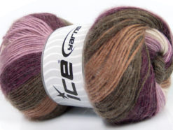 Lot of 4 x 100gr Skeins Ice Yarns MADONNA (40% Wool 30% Mohair) Yarn Purple Lilac Brown Shades White