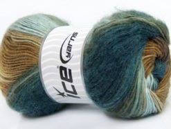 Lot of 4 x 100gr Skeins Ice Yarns MADONNA (40% Wool 30% Mohair) Yarn Brown Shades Teal Light Blue