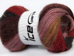Lot of 4 x 100gr Skeins Ice Yarns MADONNA (40% Wool 30% Mohair) Yarn Maroon Rose Pink Light Brown Red Black