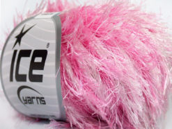 Lot of 8 Skeins Ice Yarns EYELASH COLORFUL Hand Knitting Yarn Pink White