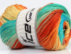 Lot of 4 x 100gr Skeins Ice Yarns CAMILLA COTTON MAGIC (100% Mercerized Cotton) Yarn Turquoise Mint Green Orange Yellow