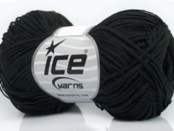 Lot of 8 Skeins Ice Yarns FETTUCCIA COTTONAC FINE (50% Cotton) Yarn Black