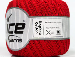 Lot of 6 Skeins Ice Yarns DAPHNE COTTON (100% Mercerized Cotton) Yarn Red