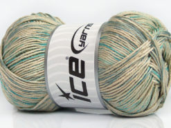 Lot of 4 x 100gr Skeins Ice Yarns TROPICAL MERCERIZED (100% Mercerized Cotton) Yarn Blue Turquoise Beige