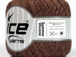 Lot of 6 Skeins Ice Yarns SUMMER VISCOSE (72% Mercerized Cotton 28% Viscose) Yarn Brown