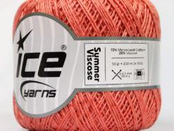 Lot of 6 Skeins Ice Yarns SUMMER VISCOSE (72% Mercerized Cotton 28% Viscose) Yarn Salmon