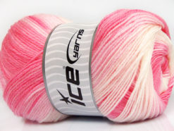 Lot of 4 x 100gr Skeins Ice Yarns MAGIC BABY Yarn Pink Shades White