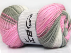 Lot of 4 x 100gr Skeins Ice Yarns MAGIC BABY Yarn Pink Grey White