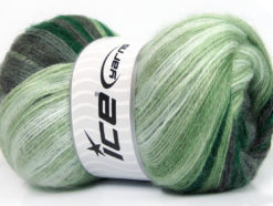 Lot of 4 x 100gr Skeins Ice Yarns MOHAIR MAGIC (20% Mohair 20% Wool) Yarn Green Shades Grey Shades White