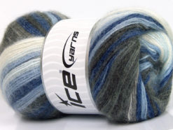 Lot of 4 x 100gr Skeins Ice Yarns MOHAIR MAGIC (20% Mohair 20% Wool) Yarn Blue Shades Grey Shades White