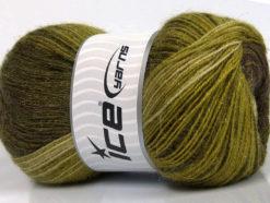 Lot of 4 x 100gr Skeins Ice Yarns MOHAIR MAGIC GLITZ (20% Mohair 20% Wool) Yarn Green shades Brown Shades