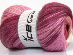 Lot of 4 x 100gr Skeins Ice Yarns MOHAIR MAGIC GLITZ (20% Mohair 20% Wool) Yarn Maroon Pink Shades Salmon Cream