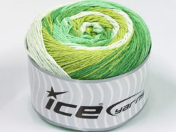 Lot of 2 x 200gr Skeins Ice Yarns CAKES NATURAL COTTON (100% Cotton) Yarn Green Shades