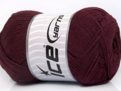 Lot of 4 x 100gr Skeins Ice Yarns NATURAL COTTON AIR (100% Cotton) Yarn Maroon