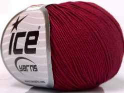 Lot of 8 Skeins Ice Yarns BABY SUMMER (60% Cotton) Hand Knitting Yarn Burgundy