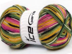 Lot of 4 x 100gr Skeins Ice Yarns SUPER SOCK (75% Superwash Wool) Yarn Green Yellow Lilac Pink Black