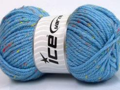 Lot of 4 x 100gr Skeins Ice Yarns WOOL TWEED SUPERBULKY (25% Wool 3% Viscose) Yarn Light Blue
