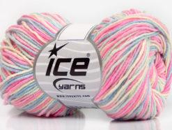 Lot of 8 Skeins Ice Yarns LORENA PRINT (55% Cotton) Yarn Pink Blue Cream