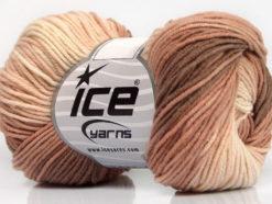 Lot of 8 Skeins Ice Yarns LORENA PRINT (55% Cotton) Yarn Brown Rose Brown Light Pink