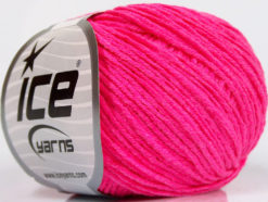 Lot of 8 Skeins Ice Yarns ALARA (50% Cotton) Hand Knitting Yarn Neon Pink