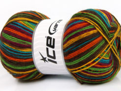Lot of 4 x 100gr Skeins Ice Yarns PRINT SOCK (75% Superwash Wool) Yarn Dark Brown Yellow Green Turquoise Orange