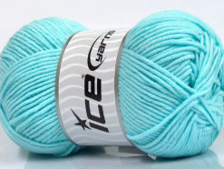 Lot of 4 x 100gr Skeins Ice Yarns LORENA WORSTED (55% Cotton) Yarn Light Turquoise